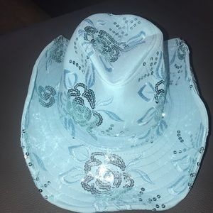 Accessories - Blue Sequined Cowboy Style Hat